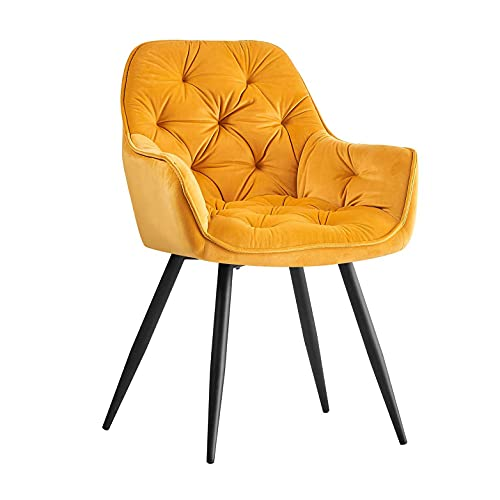 AINPECCA Dining chair with thick velvet material and armchair with backrest Black metal feet with foot pads yellow 1