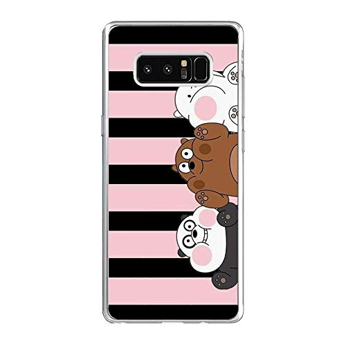 We Bare-Bear Animated 7 Clear Soft TPU Liquid Shell Protective Phone Case Cover for Samsung Galaxy Note 8