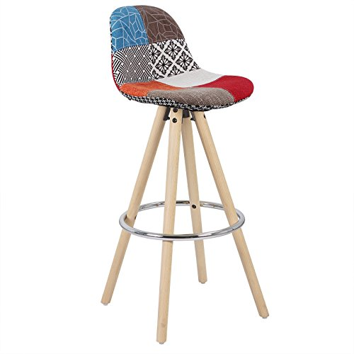 WOLTU® 1 x Barhocker 1 Stück Barstuhl aus Leinen Holzgestell mit Lehne + Fußstütze Design Stuhl Küchenstuhl optimal Komfort Patchwork Mehrfarbig BH45mf-1