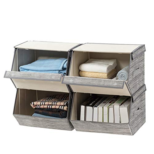 """Giantex Storage Bins Set of 4 Stackable Cubes Storage Baskets W/Lid, Side Handles, 4-Pack Magnetic Linen Container Boxes,for Toys,Clothes and Files 15""""Lx14""""W x10""""H Folding Storage Organizer"""