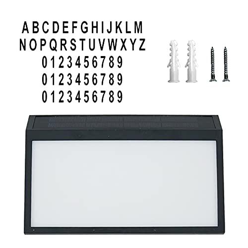 MagiDeal Placa de número de casa Solar, luz LED alimentada por energía Solar, Placa de dirección, Placa de número de Puerta 0-9, y a-Z, Etiquetas de Letras
