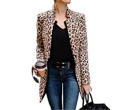 Huazong Ropa de mujer de manga larga de leopardo chaqueta de traje de trabajo de negocios chaqueta