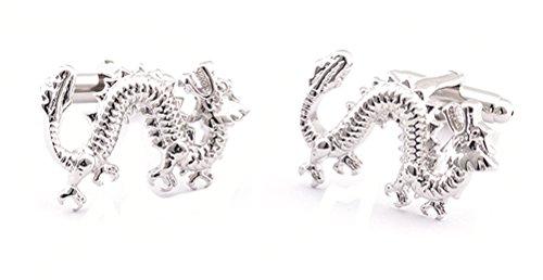 Demarkt 2 Pièces Bijoux Boutons de Manchette Homme Argentage Design de Dragon Chinois