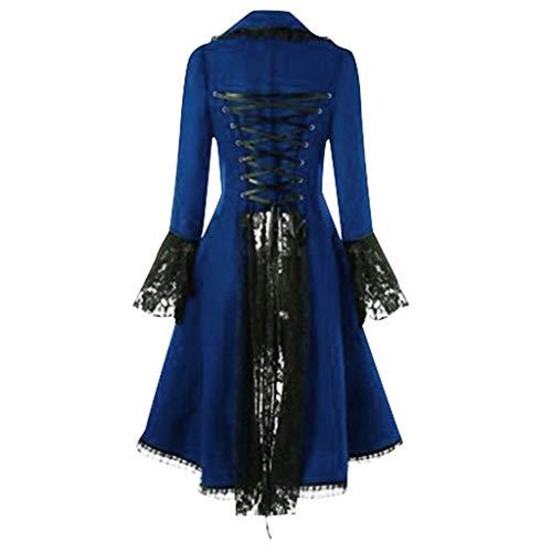Smoking Steampunk Gothic Damen Jacke, Zolimx Female Punk Vintage Spitze Panel langärmelige Taille Rücken Bandage Stitching Jacke Mantel Übergröße (XXL, Blau)