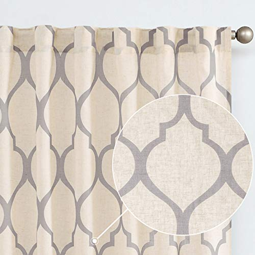 jinchan Light Filtering Curtains Linen Blend Moroccan Print Quatrefoil Flax Textured Geometry Lattice Rod Pocket Back Tab Window Treatment Set 2 Panel Drapes 84 Inches Long Grey on Beige