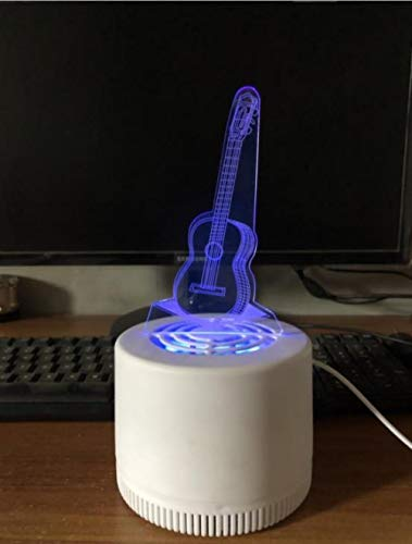 Mosquito Repellent Lamp 3D Mosquito Killer Cartoon Lamp Home Indoor Silent Mosquito Trap Creative Gift Business Gift Children Sleep Aid Lamp-Fantasy Guitar_USB