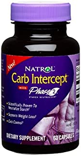 Natrol Carb Intercept with Phase 2 Starch Neutralizer, 60 Capsules (Pack of 2)