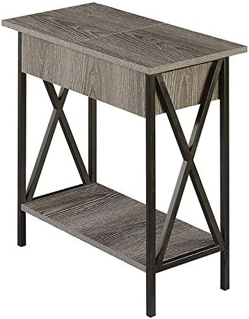 Best Convenience Concepts Tucson Flip Top End Table with Charging Station, Weathered Gray