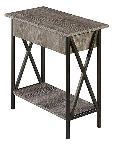Convenience Concepts Tucson Flip Top End Table with Charging Station, Weathered Gray