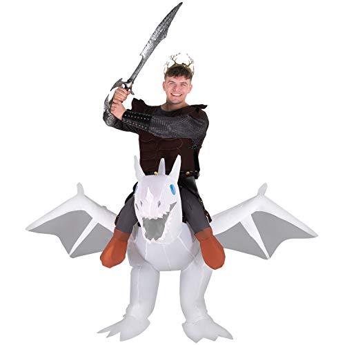 Disfraz de Halloween Morph blanca inflable Ride-On dragón para adultos