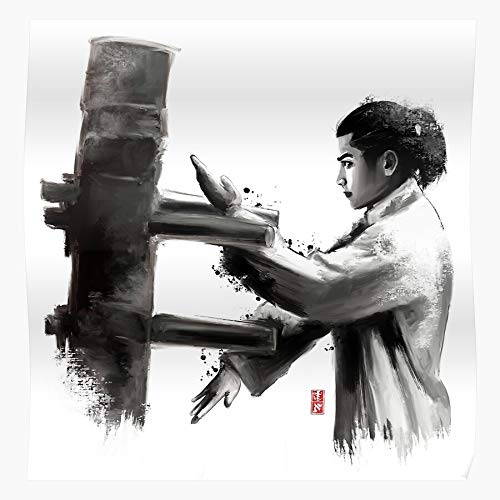 Zen Fu Kung Buddhism Wooden Gong Wing Wudang Tao Chun Dummy Regalo para la decoración del hogar Wall Art Print Poster 11.7 x 16.5 inch