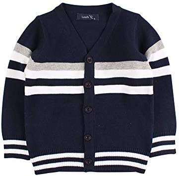 Boys Cotton Crochet Sweater V Collar Baby Striped Button Up Cardigan Long Sleeve Toddler Classic product image