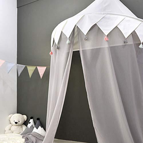 Kinder Baldachin betthimmel mädchen Spielzimmer Bett Prinzessin Chiffon hängende Moskitonnetz Schlafzimmerdekoration Baumwolle Hängende für Spiel Lesen,Grau