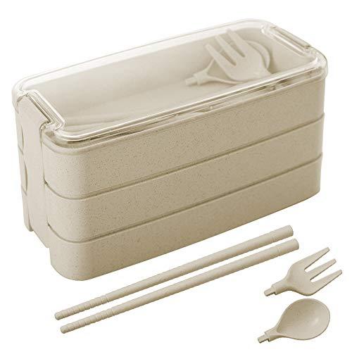 Fiambrera Bento,ZoneYan Bento Japonés Design, Lunch Bento Box, Lonchera a Prueba de Fugas, Fambrera Infantil Paja de Trigo para el Trabajo, Escuela, Viajes (Cream)