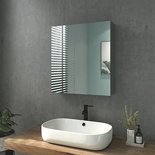 Heilmetz Badezimmer Spiegelschrank, Doppeltür Bad Spiegelschrank Badschrank Spiegelschrank ohne Beleuchtung 60 x 65 cm (Grau)