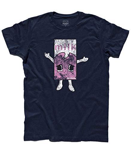 3stylershop T-Shirt Herren Milchig Strawberry Inspiriert zu Kaffee und TV der Blur - Blau, XL