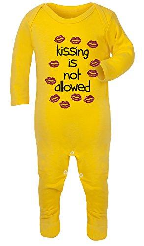 Pyjama double face Kiss is Not permis bébé 100% coton hypoallergénique - Jaune - S