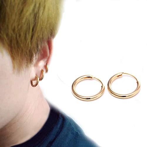 CQOQ Oro/Plata Mini Mini Ronda Pendientes Acero Inoxidable Aleación De Aleación Dama Glamour Pendientes Exagerados Regalos De Joyería para Mujeres-Gold Color_10mm (Color : Gold Color)