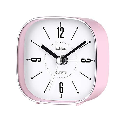 Edillas Viaje Despertadores Analógicos, Silencioso 3 Pulgadas Simple Elegante Portátil Despertador Operado por Batería (Rosa)