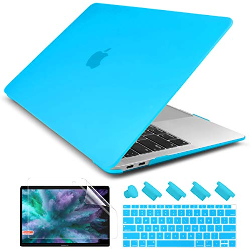 Dongke New MacBook Air 13 inch Case 2020 2019 2018 Release Model: A2179/A1932, Rubberized Frosted Matte See Through Hard Case Cover for MacBook Air 13.3 inch with Retina Display Touch ID - Sky Blue