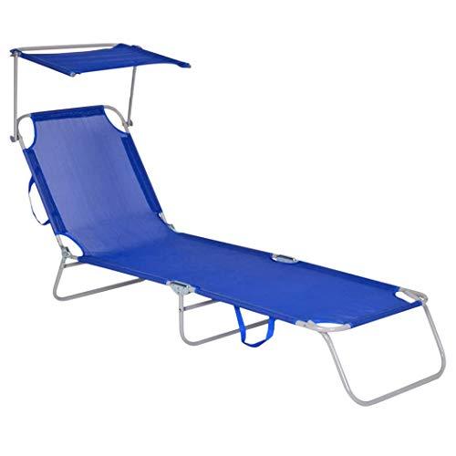 Mediawave Store - Tumbona de textilene con respaldo ajustable, tubo de 18 mm de diámetro y techo parasol, tumbona plegable y transportable, para mar, piscina, decoración de jardín (azul)