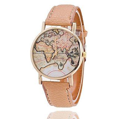 Armbanduhren Unisex Weltkarte Style Watch/Jahrgang Weltkarte/Antiken-Weltkarte/Damenuhr/Women Premium-Kunstleder (Farbe : Braun, Großauswahl : Einheitsgröße)