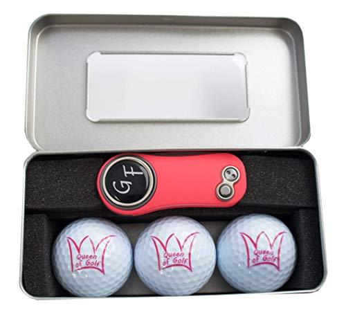 Geschenk-Box: 3 Bälle Queen of Golf + Pitchgabel von Pitchfix mit personalisiertem Golfball-Marker