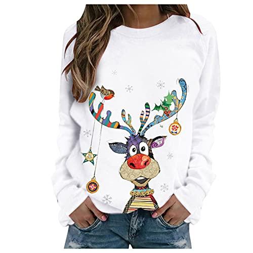 Sudadera para mujer, informal, con diseño de alce de Navidad, con costuras en contraste, de manga larga, cuello redondo, para mujer, Blanco, S