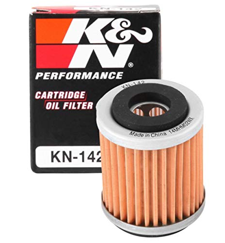 K&N Motorcycle Oil Filter: High Performance, Premium, Designed to be used with Synthetic or Conventional Oils: Fits Select Yamaha Vehicles, KN-142