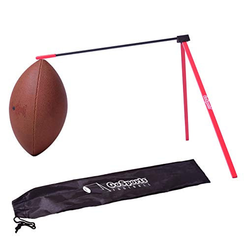 GoSports Football Kicking Tee, Metal Place Kicking Stand for Field Goal Kicks - Portable Holder Compatible with All Football Sizes, Red