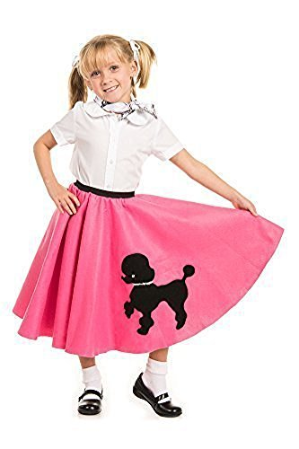 Kidcostumes Poodle Skirt with Musical Note Printed Scarf Hot Pink