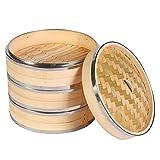 MSQL Vapor de bambú de Cocina de 3 Niveles Canasta de Vapor de Pescado y arroz de 8 Pulgadas / 21 cm con Tapa Bandas de Acero Inoxidable, para cocinar en Asia