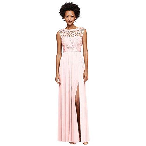 Long Bridesmaid Dress with Lace Bodice Style F19328, Petal, 10
