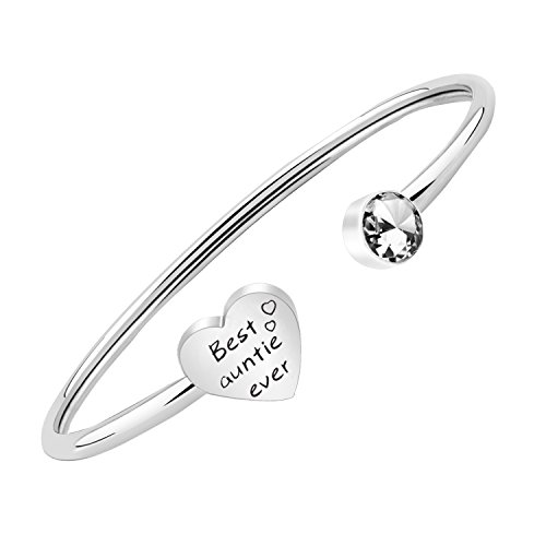 PLITI Mother Aunt Bangle Best Auntie Ever Bracelet Mother Auntie Jewelry Gifts from Niece Daughter Cuff Bracelets for Women (Aunt Auntie Ever SIL)