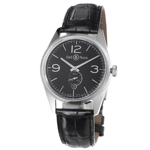 Bell & Ross Men's BR123-OFFICER BLACK Vintage Black Dial and Strap Watch