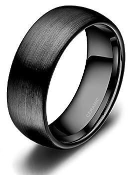 4mm 6mm 8mm Black Ceramic Rings Brushed Comfort Fit Engagement Wedding Band Size 4-13