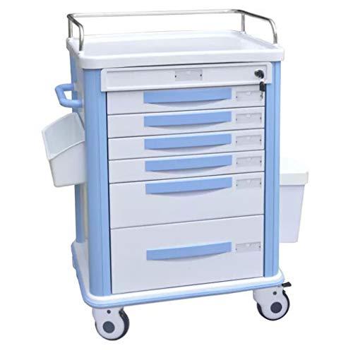 GEEFSU-Carrello di Consegna per Medicazione Ospedaliera Carrello Dentale Medico Carrello di Servizio Carrello per Trattamenti Muto in ABS per Il Trasporto di Forniture Mediche