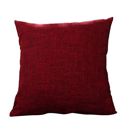 dontdo Cojín para sofá o cama, cojín cuadrado, lino, color liso, funda de almohada para sofá, cama, decoración del hogar, color rojo vino