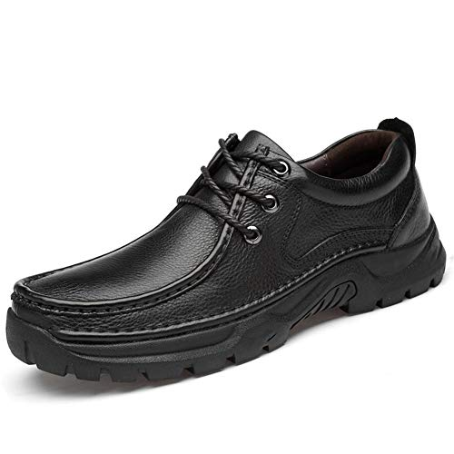 Liyuzhu Oxford for Männer Low Top Business-Schuhe schnüren Sich Oben echtes Leder Retro-runde Zehe-Gummisohle Genähte Anti Slip Schuhe (Fleece Innen Optional)