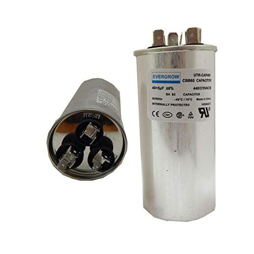 heil air conditioners EverGrow Capacitor for AC 40/5 MFD uF 450VAC Compressor Motor and Fan Start CBB65 Aluminum Can Dual Run Round Capacitor for Condenser Straight Cool or Heat Pump Air Conditioner (CAP-DUAL -172)
