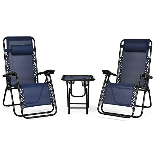Giantex 3 PCS Zero Gravity Chair Patio Chaise Lounge Chairs Outdoor Yard Pool Recliner Folding Lounge Table Chair Set (Navy)