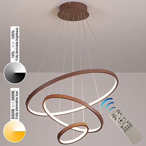 Lampada a sospensione dimmerabile moderna design a LED tre anelli 80/60/40 Lampadari a sospensione a soffitto con telecomando