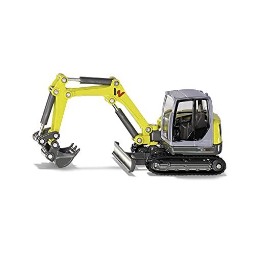 siku 3559, Wacker Neuson ET 65 Kettenbagger, 1:50, Metall/Kunststoff, Gelb, Bewegliches Maschinenhaus und drehbare Ketten, Beweglicher Baggerarm
