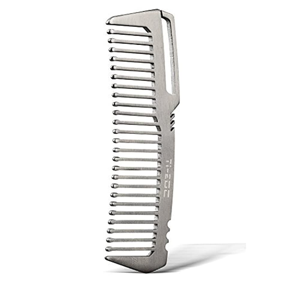お茶ペアパラシュートTI-EDC Titanium Hair Beared Comb Handmade Premium Eco-friendly Durable Pocket Wallet Comb [並行輸入品]