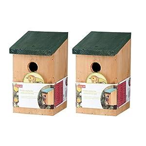 2 x Wooden Nesting Nest Box Bird House Small Wild Birds Blue Tit Robin Sparrow Garden House With Green Hinged Roof Wooden Bird Nester Outdoor 22x12x14cm
