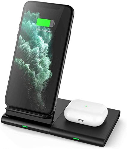 Hoidokly 2 in 1 Wireless Charger Stand Pad Dual 10W Fast Charging Station for Samsung Galaxy Watch/Active 2/Gear S3/Buds Live, S20 Ultra/10/9/8/Note 20/10/9,7.5W for iPhone 11 Pro Max/SE 2,Airpods Pro