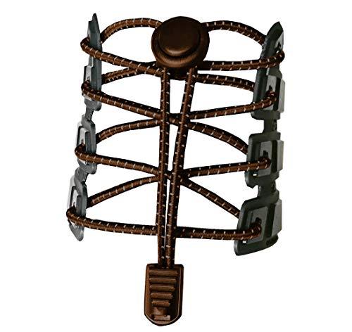 Canwn [3 Paar Elastische Schnürsenkel mit Schnellverschluss, Reflektierend Schnellschnürsystem mit 120cm Länge für Läufer, Kinder, Faule,ältere Menschen und aktiven Lebensstil(Braun)