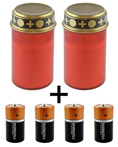 bellaton LED Grablicht/LED-Grabkerze 2er Set mit Schalter & 4 STK. Duracell Plus Power Baby C, Batterien