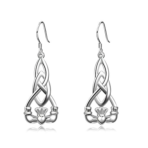 Religious Irish Earrings Sterling Silver Celtic Knot Dangle Earrings Claddagh Earrings Jewelry with Fishhook for Women Girls Gifts