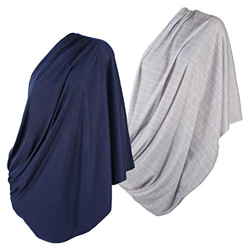 2pk LK Baby Infinity Nursing Scarf Breastfeeding Cover Ultra Soft (Grey/Navy)